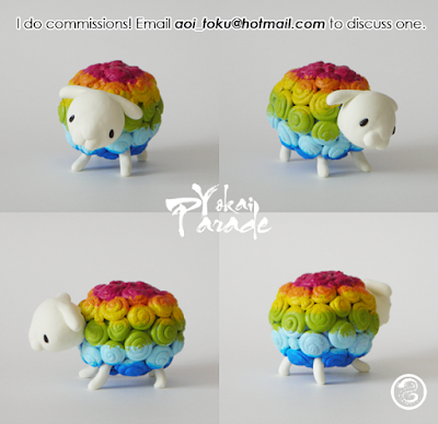 rainbow sheep statue