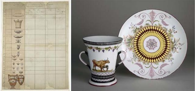 Jean-Jacques Lagrenée : Profil des pièces du service pour la Laiterie de Rambouillet, à droite : deux pièces du service de porcelaine de Sèvres