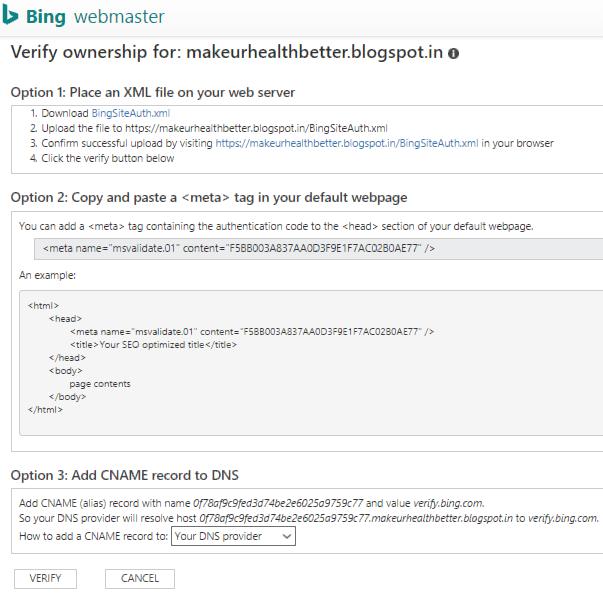 Verify ownership in Bing webasters