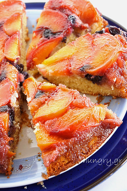 Fresh Peach & Black Grape Upside-Down Cake