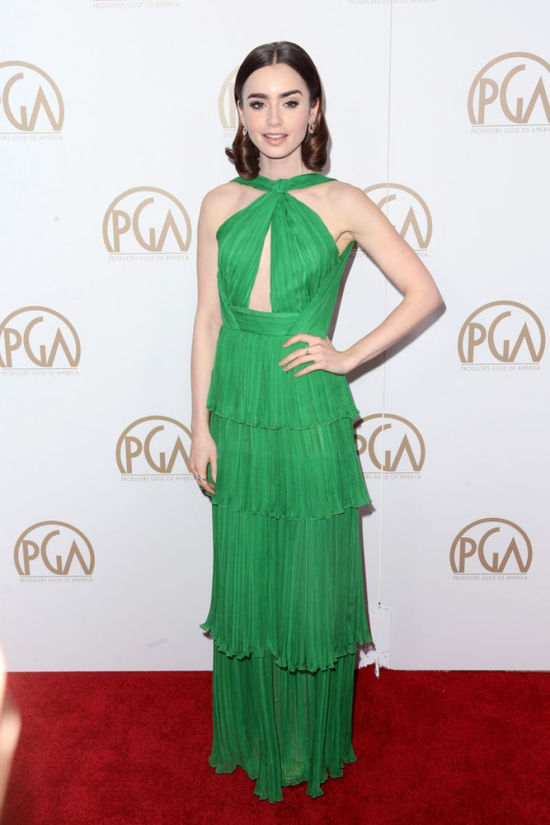 Lily Collins dazzles in backless emerald dress at the Producers Guild Awards