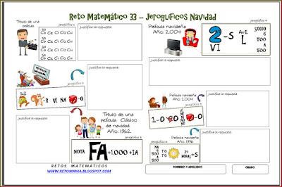 Retos matemáticos, Desafíos matemáticos, Problemas matemáticos, Jeroglíficos, Jeroglíficos con solución, Navidad, Las matemáticas y la navidad, Jeroglíficos navideños