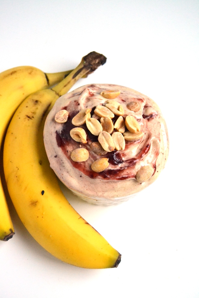 Peanut Butter and Jelly Banana Ice Cream is rich and creamy tasting with only 4 healthy ingredients and only takes 5 minutes to make! www.nutritionistreviews.com