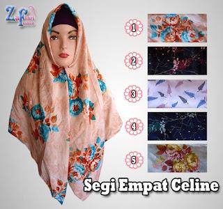 Jual murah jilbab segi empat celine motif shabby terbaru