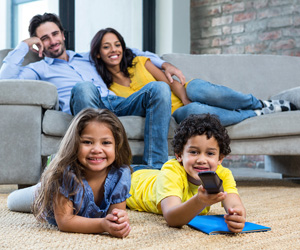 Smiling family with warm floors