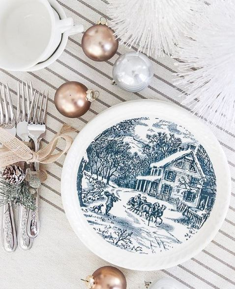 christmas transferware blue
