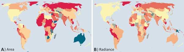 Aumento da poluição luminosa no mundo