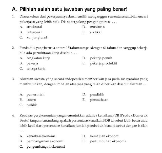Soal UKK / UAS Ekonomi Kelas X XI Semester 2 (Genap)