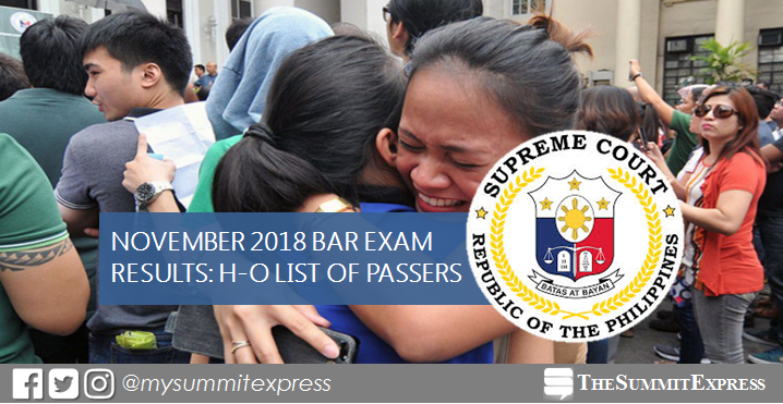 H-O Passers List: 2018 Bar Exam Results release