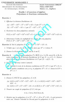 Exercices Algèbre 1: Polynomes et fractions rationnelles SMPC Fs oujda