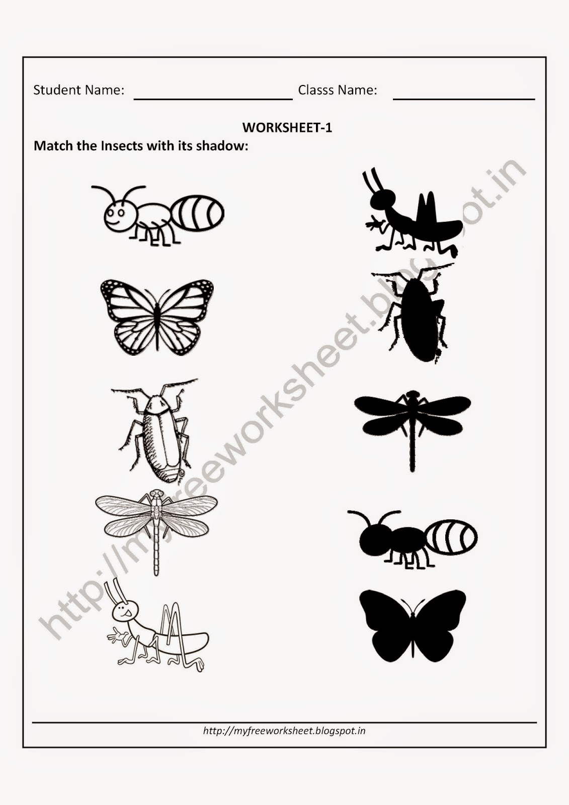 Free Download Worksheet For Nursery Kids Match The
