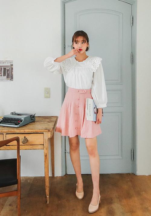 High-Waist Pleated Linen Skirt