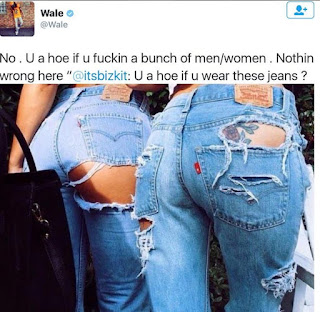 Does wearing torn jeans make a girl a hoe? Checkout rapper Wale's reply