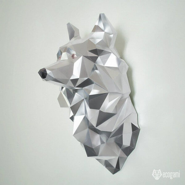 folded paper wolf sculpture