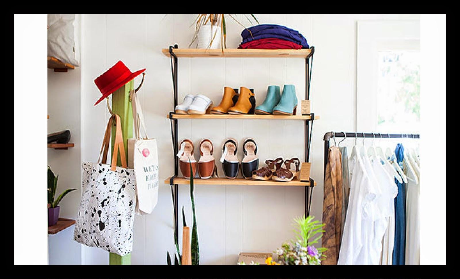 pretty boutique shelf clothes rat red hat blue clogs
