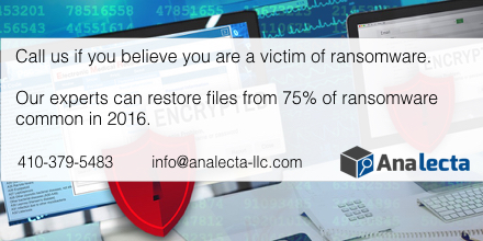 If you believe you have encountered ransomware, give us a call at 410-379-5483 so we can help identify the threat and determine your best way forward to keep your practice healthy!
