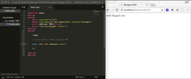 Cara Menulis HTML didalam PHP