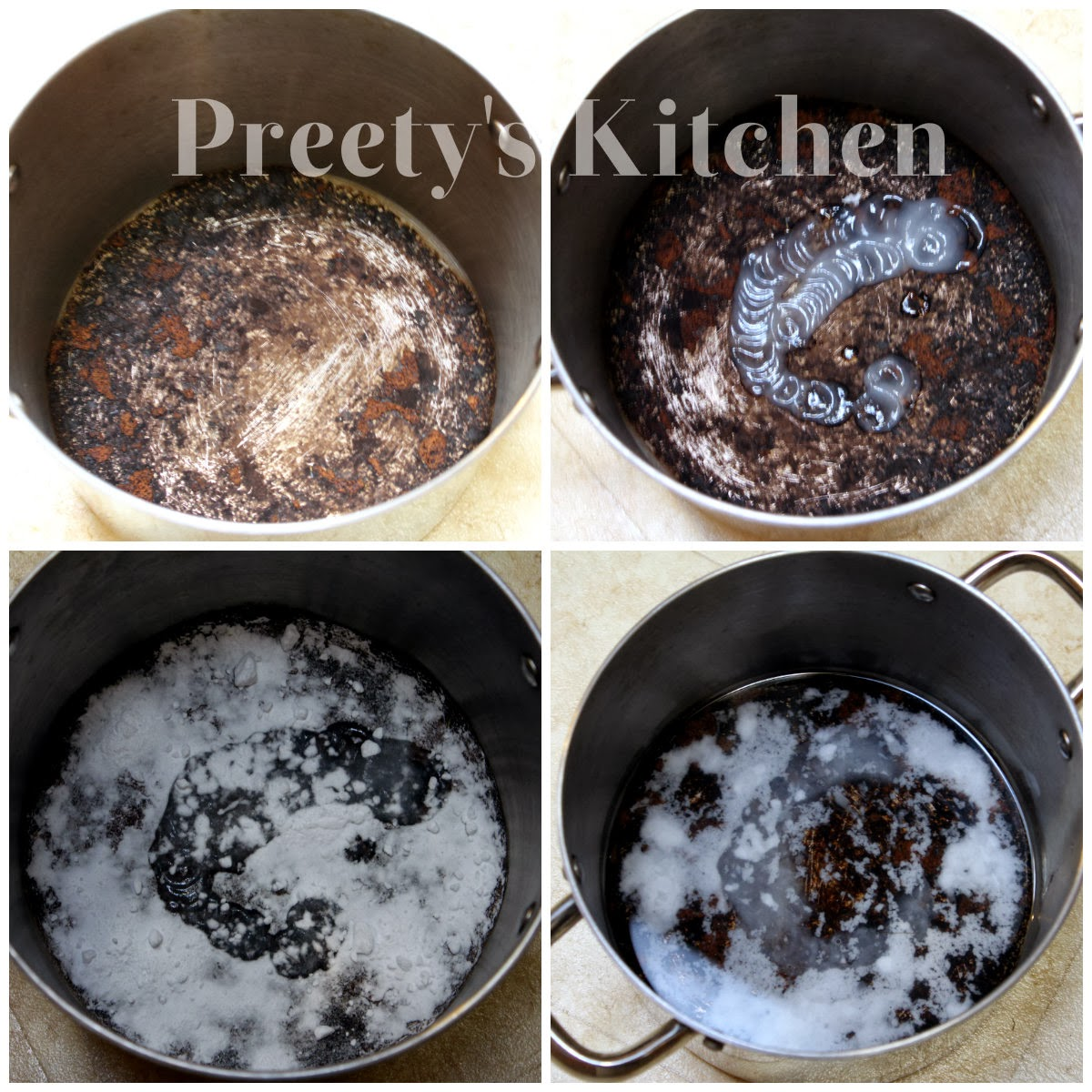 1 Put 2 Tbsp Of Dish Soap In The Burnt Pan