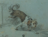 Study of a Small Dog by Jean-Baptiste Greuze - Animal Drawings from Hermitage Museum