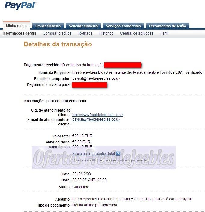 PayPal freebiejeebies dinheiro ganha ganhar free win payment