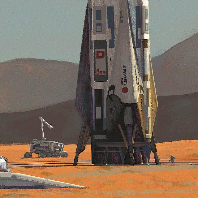 SpaceX ITS spaceship at Mars Base Alpha