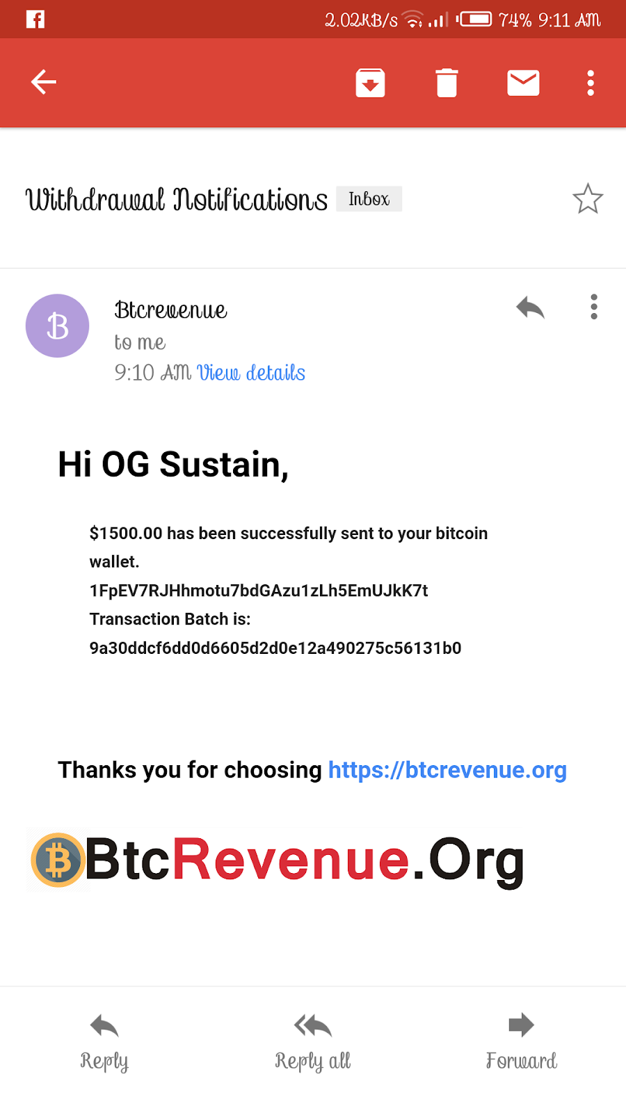 Btcrevenue.org Payment Proof