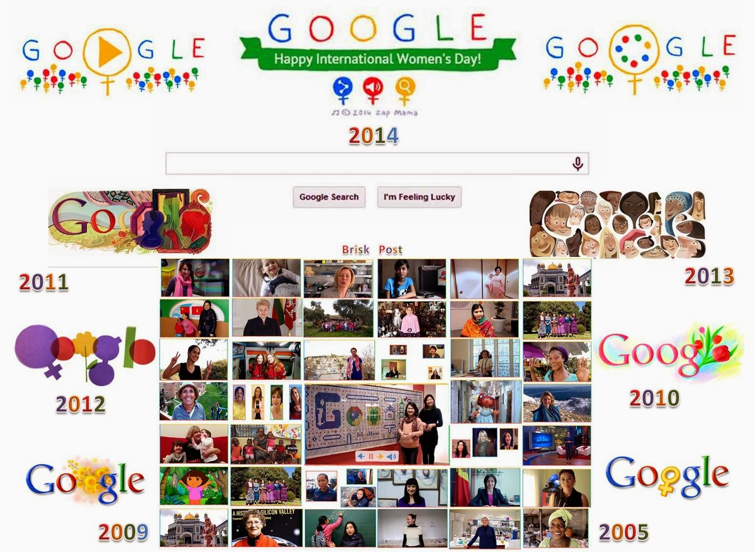 Creative Google Doodle for International Women's Day 2005 to  2014