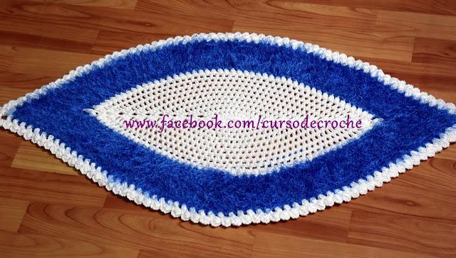 Tapete Folha Azul em Crochê para Canhota com Edinir Croche no Blog Aprender Croche