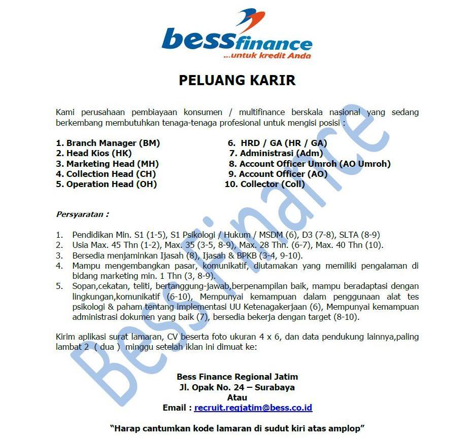 Lowongan Kerja PT. BESS Finance 10 Posisi