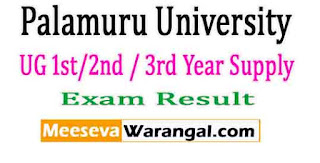 Palamuru University UG 1st/2nd / 3rd Year Supply Nov 2016 Exam Results