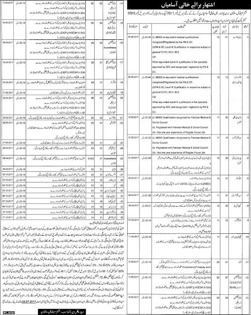 Jobs in Nishter Hospital Multan Burn Units Jobs 2017