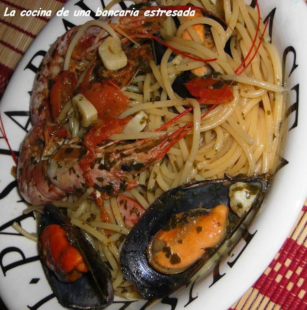 Receta de spaghetti frutti di mare, paso a paso y con fotografías