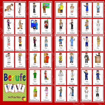44 Karten mit verschiedenen Berufen für den Deutschunterricht in der Grundschule. Sehr gut für DaF.