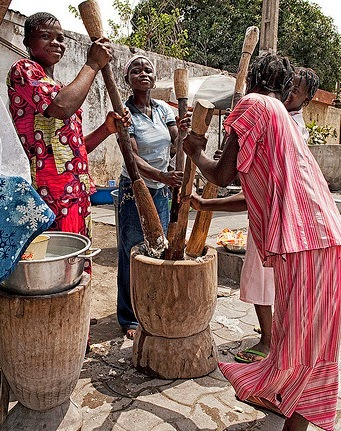 African Folktale: How the moon and the stars came to be by pounding rice photo by Willem Heerbaart