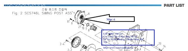 Vị trí Hộp giảm tốc tời nâng cẩu Soosan SCS746-WINCH R/G ASS'Y