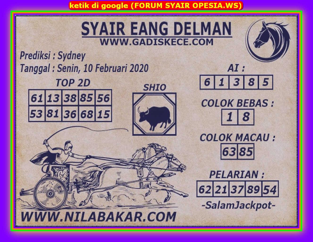 Kode syair Sydney Senin 10 Februari 2020 63