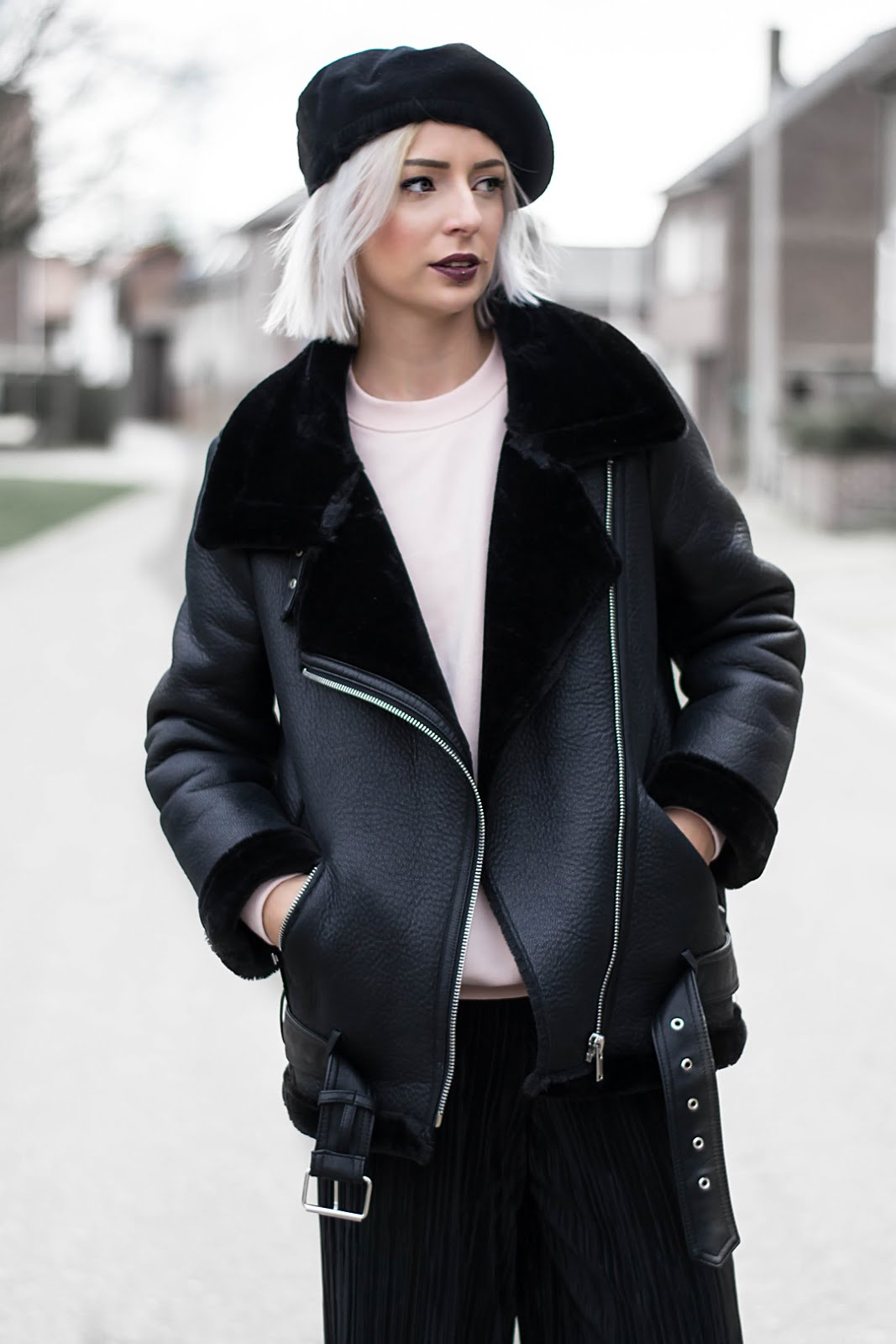Chidora beret hat, silk, zara shearling coat, pastel pink sweatshirt, pleated culottes, all black