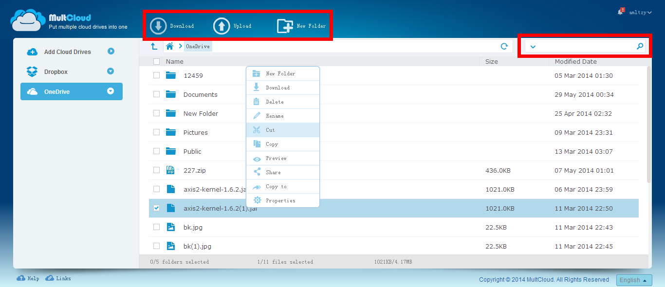 MultCloud Interface - Download, Upload, New Folder, Quick Search Bar