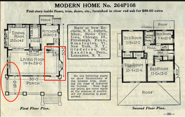 Sears 1916 catalog image of floor plan for Sears Saratoga No. 108 showing no entry hall and no wraparound porch.