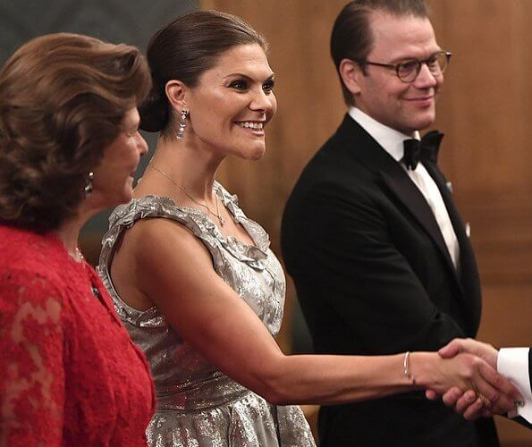 Crown Princess Victoria wore a jacquard patterned top and wide flounced skirt from HM Conscious Collection