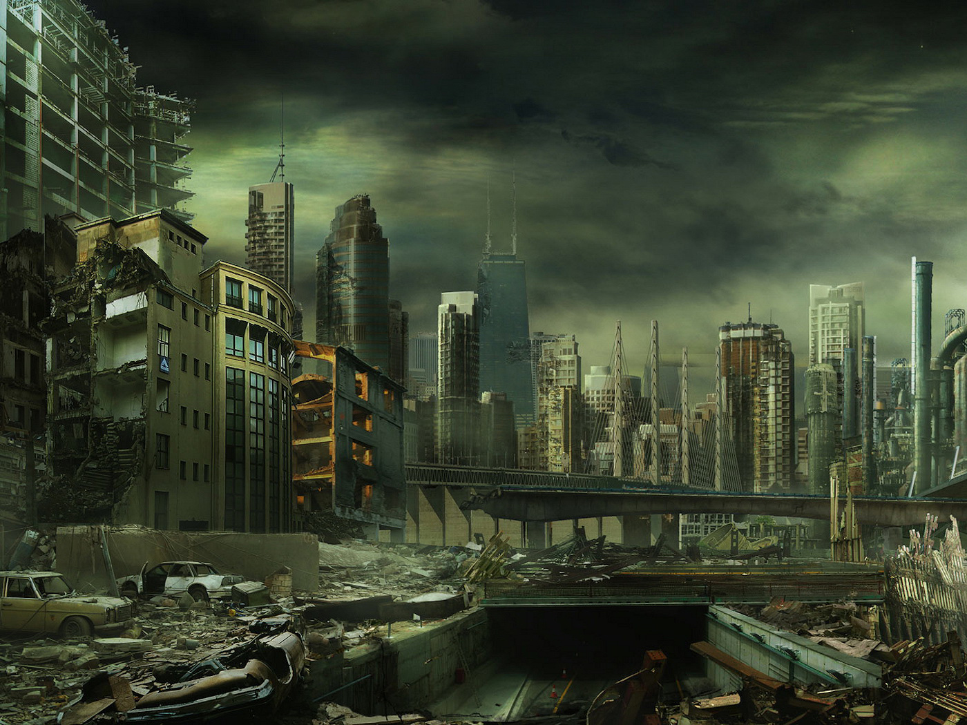 ruined city post apocaliptic 3d model |Future Destroyed City