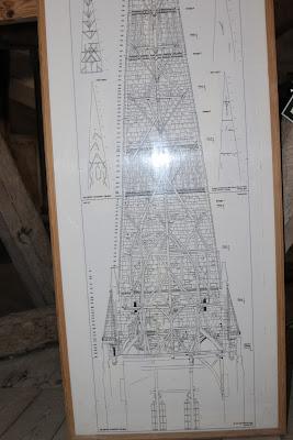 תרשים הנדסי של צריח הקתדרלה