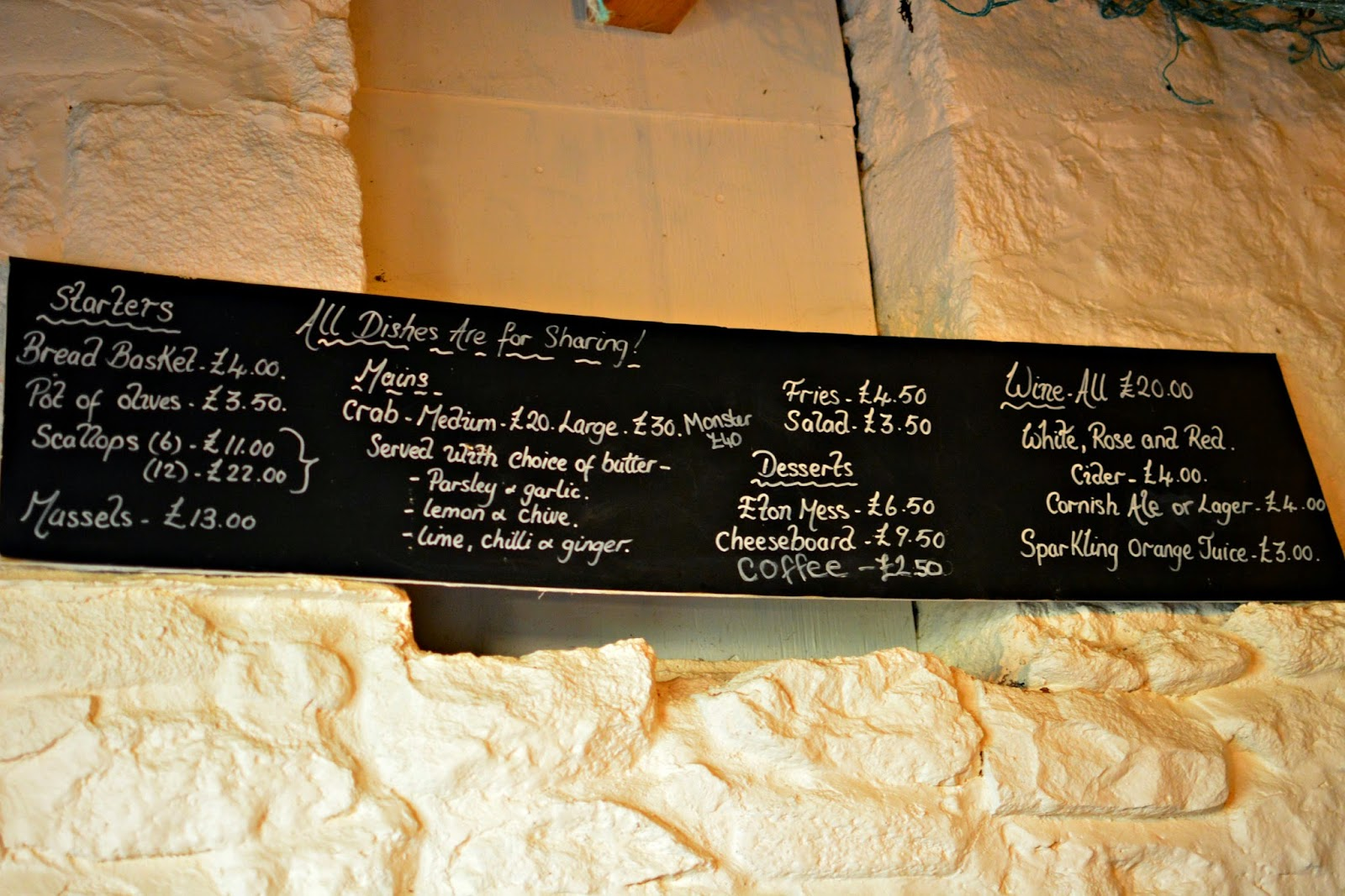 Menu of Hell Bay Hotel Crab Shack on Bryher Isles of Scilly