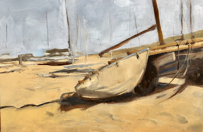 """Sailing club"" plein air oil painting beach by Philine van der Vegte"