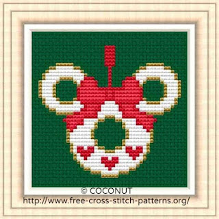 Mini Christmas Ornament 3, Free and easy printable cross stitch pattern