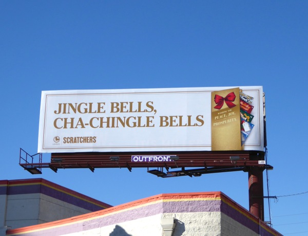 Jingle bells Lottery scratchers billboard