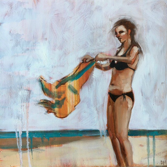 painting of girl flipping beach towel, beach painting, bikini