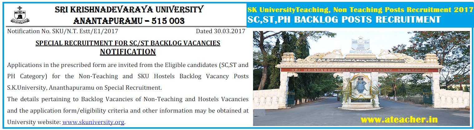 SK University sc st ph backlog Recruitment 2017