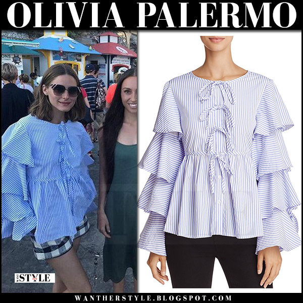 Olivia Palermo in striped blue ruffled top and check shorts summer style italy august 2017