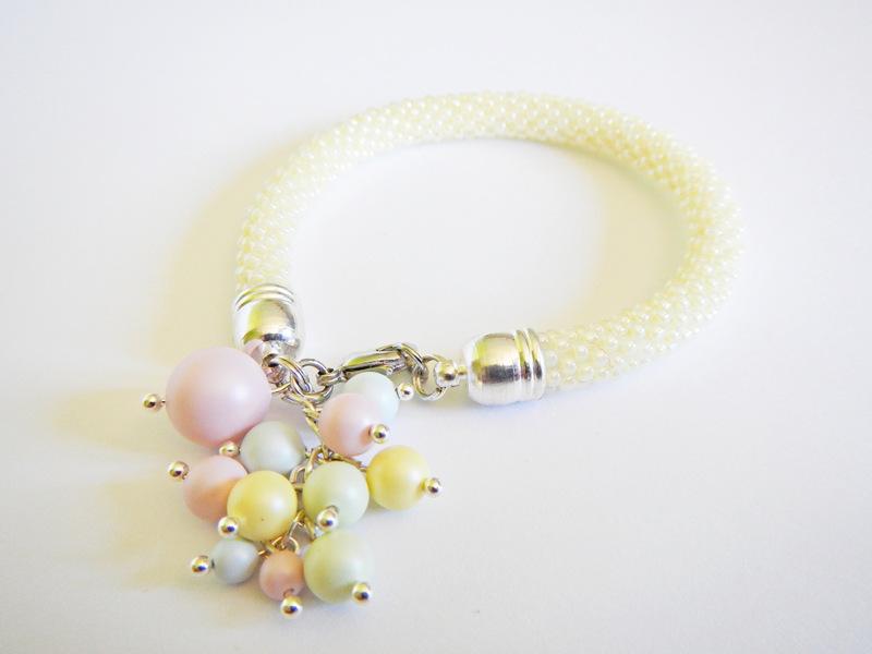 Bransoletka sznur szydełkowo-koralikowy z perełkami Swarovskiego
